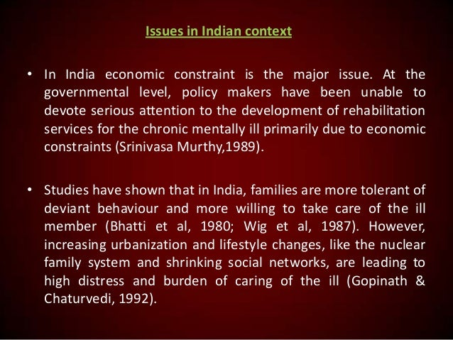 Issues in Indian context • In India economic constraint is the major issue. At the governmental level, policy makers have ...