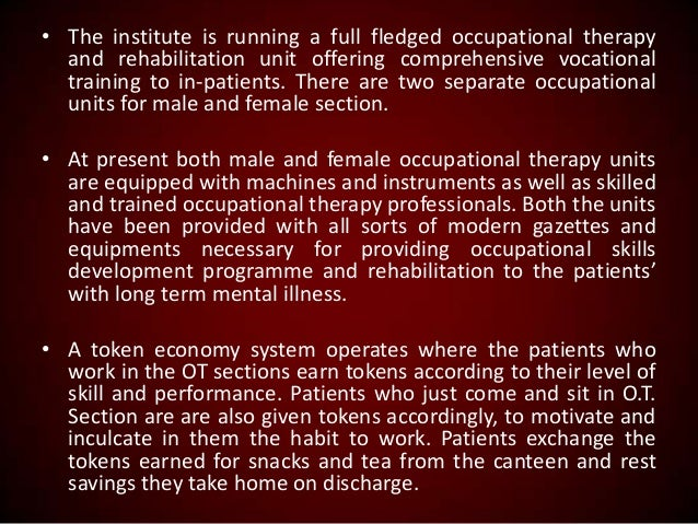 • The institute is running a full fledged occupational therapy and rehabilitation unit offering comprehensive vocational t...