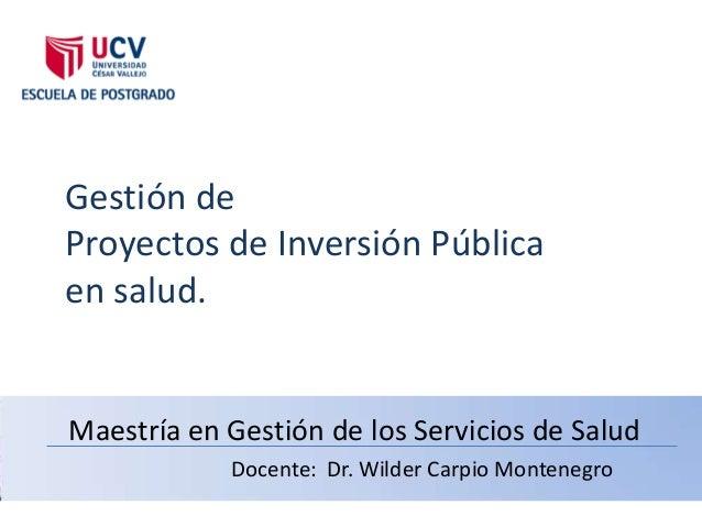 Gestión deProyectos de Inversión Públicaen salud.Maestría en Gestión de los Servicios de Salud            Docente: Dr. Wil...