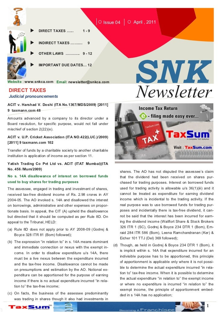Issue 04         April , 2011                   DIRECT TAXES …...            1-9                    INDIRECT TAXES …….…   ...