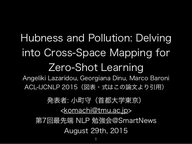 Hubness and Pollution: Delving into Cross-Space Mapping for Zero-Shot Learning Angeliki Lazaridou, Georgiana Dinu, Marco B...