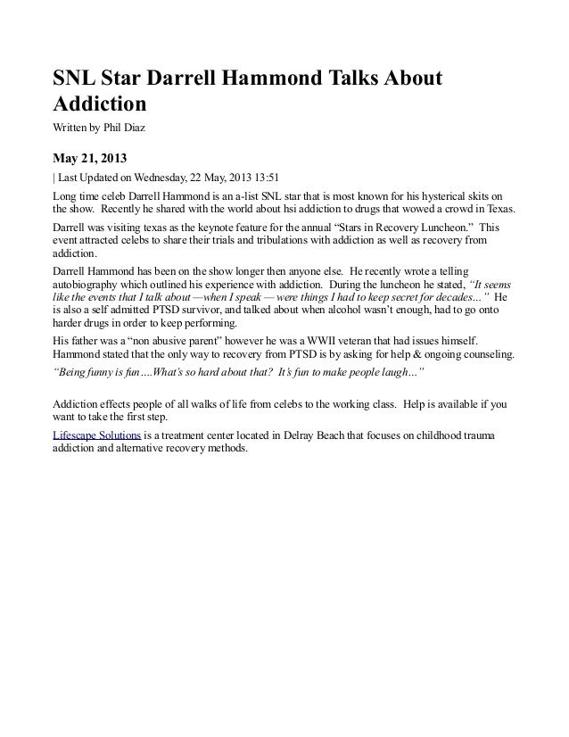 SNL Star Darrell Hammond Talks AboutAddictionWritten by Phil DiazMay 21, 2013| Last Updated on Wednesday, 22 May, 2013 13:...
