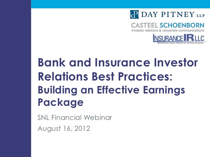 Bank and Insurance Investor                             Relations Best Practices:                             Building an ...