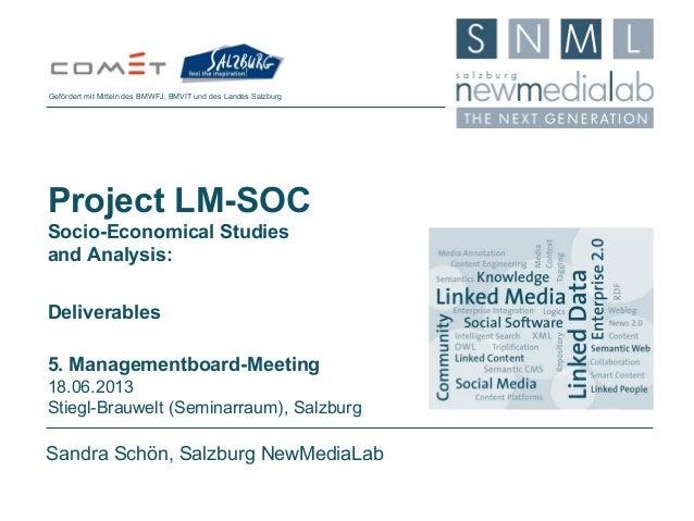 Sandra Schön, Salzburg NewMediaLabProject LM-SOCSocio-Economical Studiesand Analysis:Deliverables5. Managementboard-Meetin...