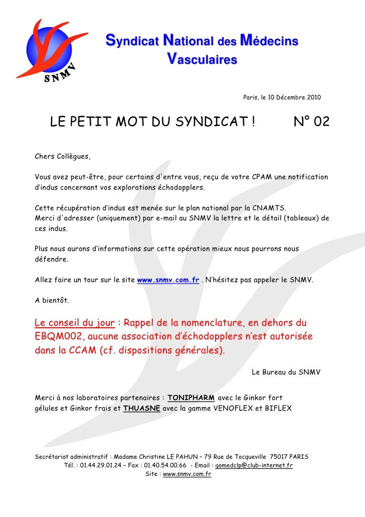 Syndicat National des Médecins                               Vasculaires                                                  ...