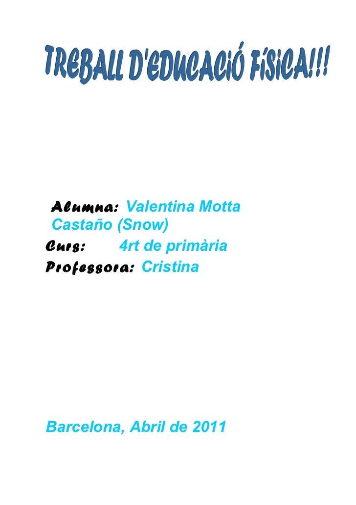 Alumna: Valentina Motta Castaño (Snow)Curs:    4rt de primàriaProfessora: CristinaBarcelona, Abril de 2011