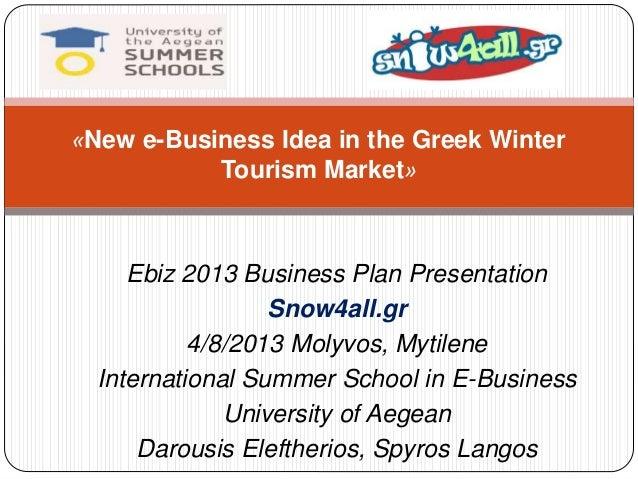 «New e-Business Idea in the Greek Winter  Tourism Market»  Ebiz 2013 Business Plan Presentation  Snow4all.gr  4/8/2013 Mol...