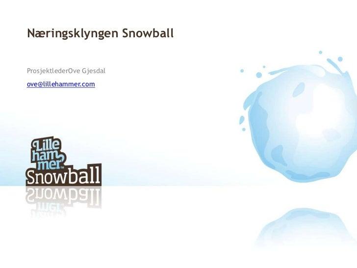 Næringsklyngen Snowball <br />ProsjektlederOve Gjesdal<br />ove@lillehammer.com<br />