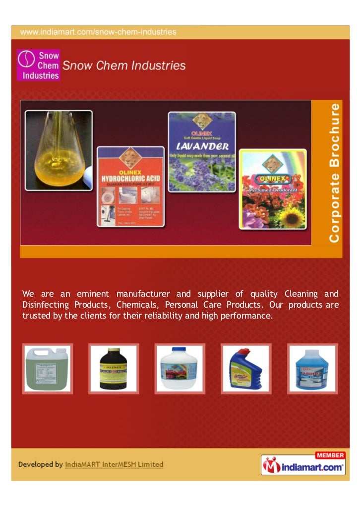 We are an eminent manufacturer and supplier of quality Cleaning andDisinfecting Products, Chemicals, Personal Care Product...