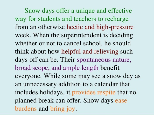 i love snow essay
