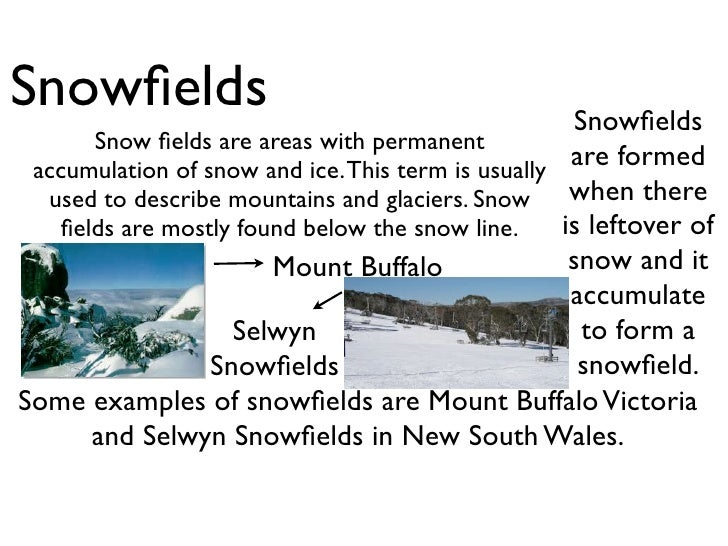 Snowfields                                            Snowfields      Snow fields are areas with permanent accumulation of sn...