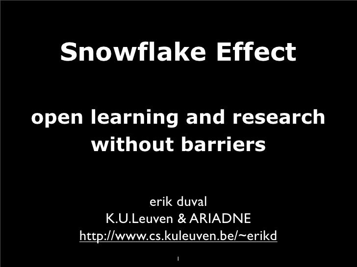 Snowflake Effect  open learning and research      without barriers                  erik duval          K.U.Leuven & ARIAD...