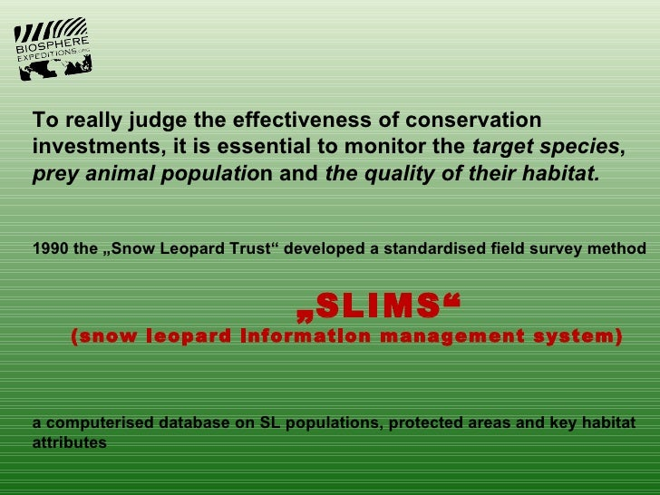 To really judge the effectiveness of conservationinvestments, it is essential to monitor the target species,prey animal po...
