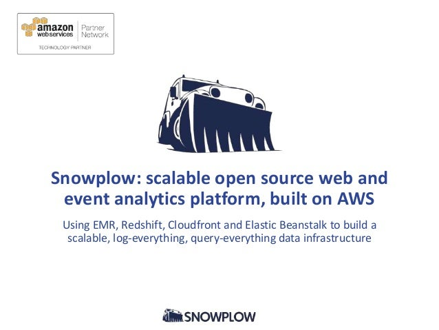 Snowplow: scalable open source web and event analytics platform, built on AWS Using EMR, Redshift, Cloudfront and Elastic ...