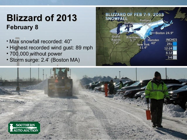"Blizzard of 2013February 8• Max snowfall recorded: 40""• Highest recorded wind gust: 89 mph• 700,000 without power• Storm s..."