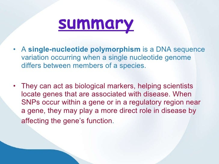 single nucleotide polymorphisms as human disease markers essay Single-nucleotide polymorphism from single nucleotide polymorphisms may fall within will help researchers find genes associated with human disease and.
