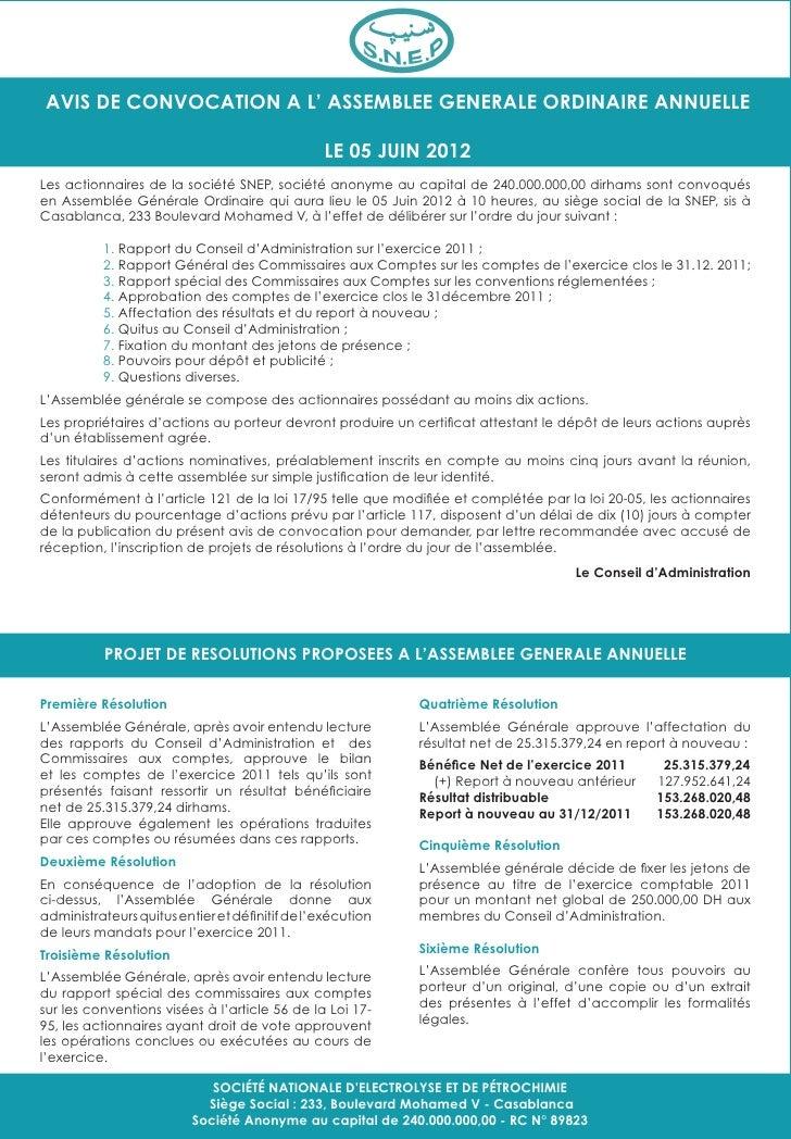 AVIS DE CONVOCATION A L' ASSEMBLEE GENERALE ORDINAIRE ANNUELLE                                                LE 05 JUIN 2...