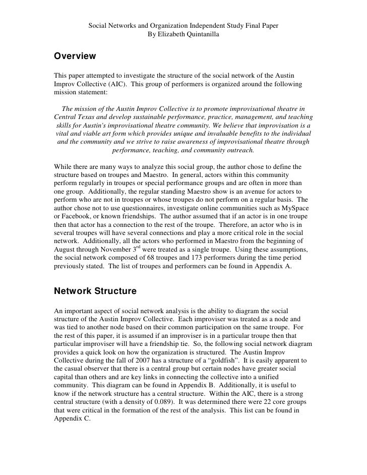 Social Networks and Organization Independent Study Final Paper                               By Elizabeth QuintanillaOverv...