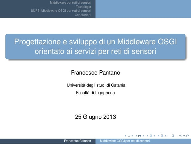 Middleware per reti di sensori Tecnologie SNPS: Middleware OSGI per reti di sensori Conclusioni Progettazione e sviluppo d...