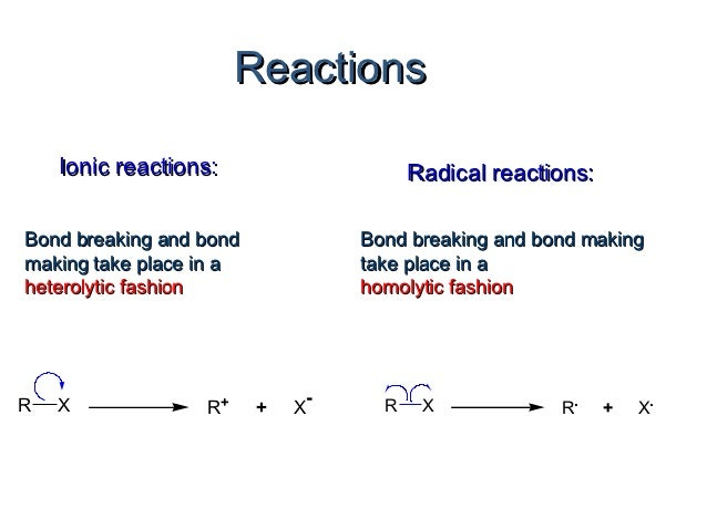 Reactions    Ionic reactions:                    Radical reactions:Bond breaking and bond            Bond breaking and bon...