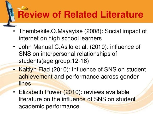 review of related literature about social networking sites This article intends to put the research problem into perspective by reviewing the related literature and  social networking sites  literature review.