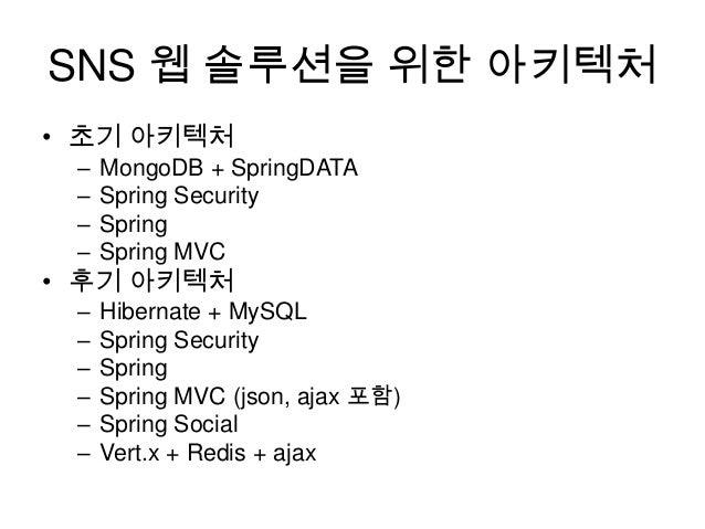 SNS 웹 솔루션을 위한 아키텍처 • 초기 아키텍처 – – – –  MongoDB + SpringDATA Spring Security Spring Spring MVC  – – – – – –  Hibernate + MyS...