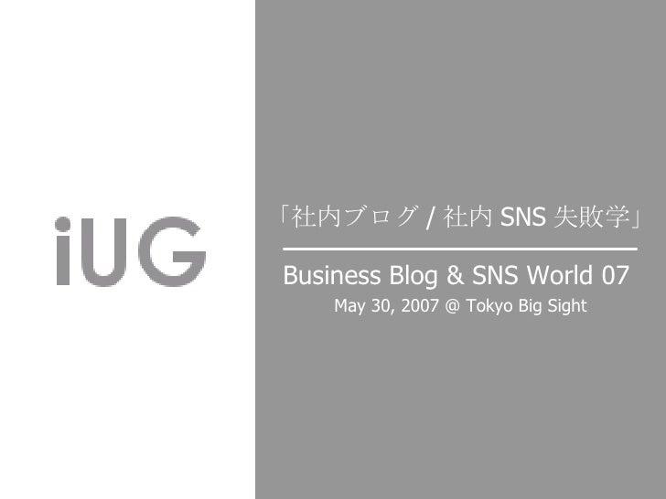 Business Blog & SNS World 07   May 30, 2007 @ Tokyo Big Sight 「社内ブログ / 社内 SNS 失敗学」