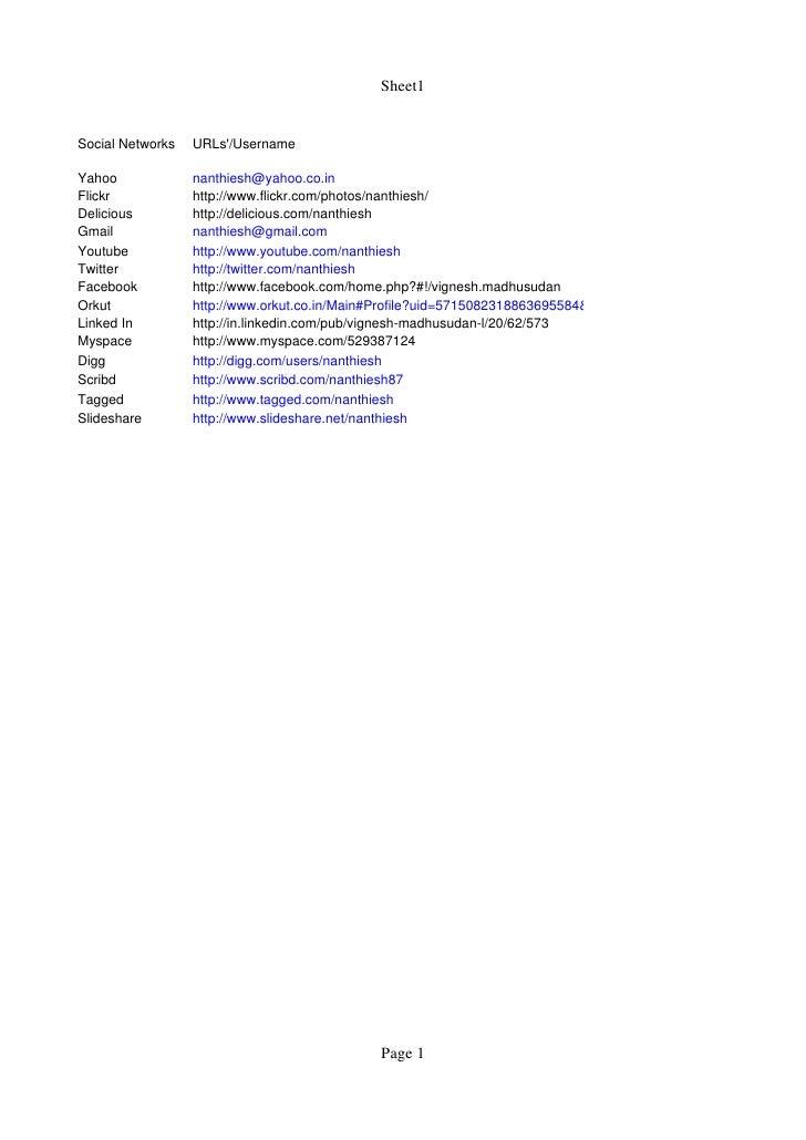 Sheet1   SocialNetworks   URLs'/Username  Yahoo             nanthiesh@yahoo.co.in Flickr            http://www.flickr.com...