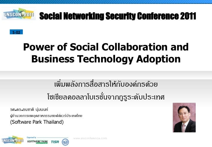 Social Networking Security Conference 2011 S-02        Power of Social Collaboration and         Business Technology Adopt...