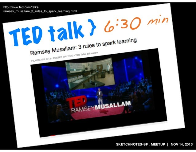 http://www.ted.com/talks/ ramsey_musallam_3_rules_to_spark_learning.html  Dt TE  6:30 lk } a  min  SKETCHNOTES-SF : MEETUP...
