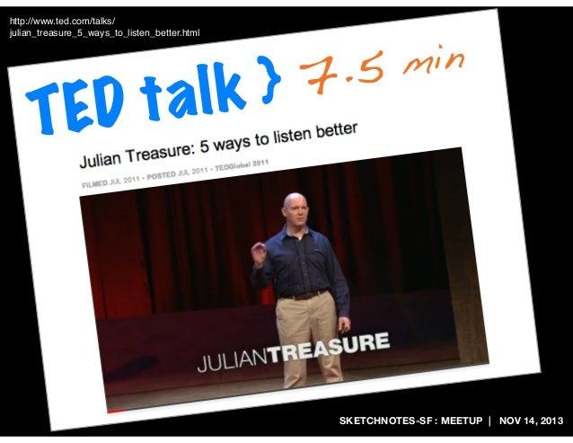 http://www.ted.com/talks/ julian_treasure_5_ways_to_listen_better.html  D ta TE  7.5 lk }  min  SKETCHNOTES-SF : MEETUP   ...