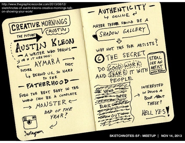 http://www.thegraphicrecorder.com/2013/08/12/ sketchnotes-of-austin-kleons-creative-mornings-talkon-showing-your-work/  SK...