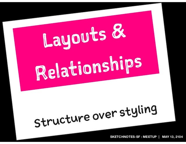 SKETCHNOTES-SF : MEETUP | MAY 13, 2104 Structure over styling Layouts & Relationships