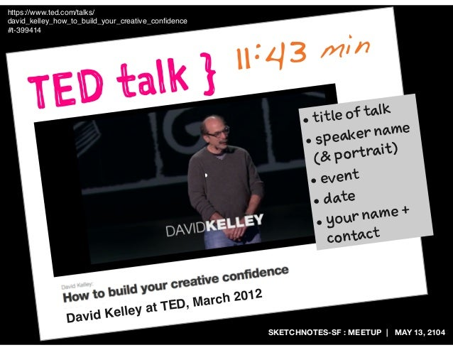 SKETCHNOTES-SF : MEETUP | MAY 13, 2104 TED talk } https://www.ted.com/talks/ david_kelley_how_to_build_your_creative_confid...