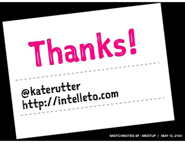 SKETCHNOTES-SF : MEETUP | MAY 13, 2104 Thanks! @katerutter http://intelleto.com