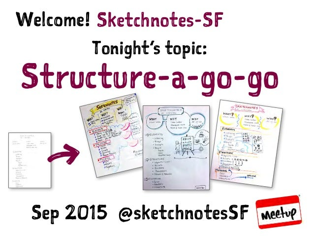 SKETCHNOTES-SF : MEETUP | SEP 16, 2015 Sketchnotes-SFWelcome! Tonight's topic: Structure-a-go-go Sep 2015 @sketchnotesSF 7