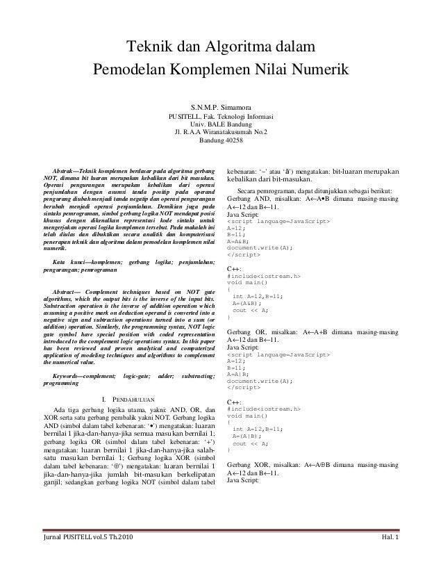 Jurnal PUSITELL vol.5 Th.2010 Hal. 1 Teknik dan Algoritma dalam Pemodelan Komplemen Nilai Numerik S.N.M.P. Simamora PUSITE...
