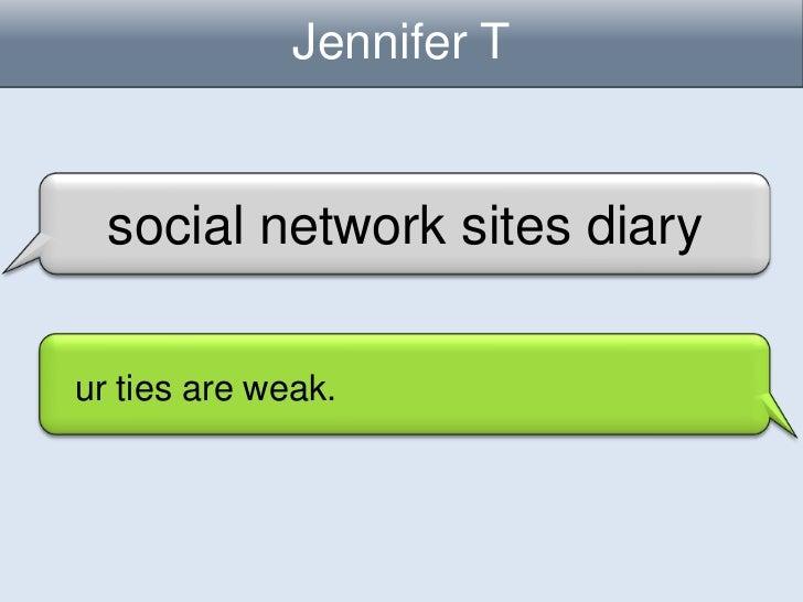 Jennifer T  social network sites diaryur ties are weak.