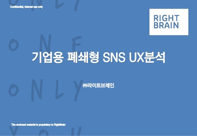 Confidential, Internal use only The enclosed material is proprietary to RightBrain 기업용 폐쇄형 SNS UX분석 ㈜라이트브레인
