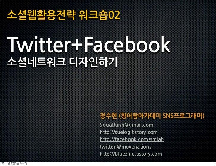 소셜웹활용전략워크숍02   Twitter+Facebook   소셜네트워크디자인하기                              정수현(청어람아카데미SNS프로그래머)                           ...