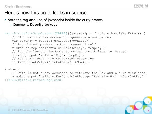 Here's how this code looks in source Note the tag and use of javascript inside the curly braces      – Comments Describe ...
