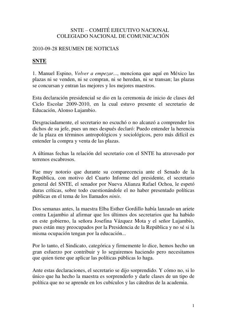 SNTE – COMITÉ EJECUTIVO NACIONAL            COLEGIADO NACIONAL DE COMUNICACIÓN  2010-09-28 RESUMEN DE NOTICIAS  SNTE  1. M...