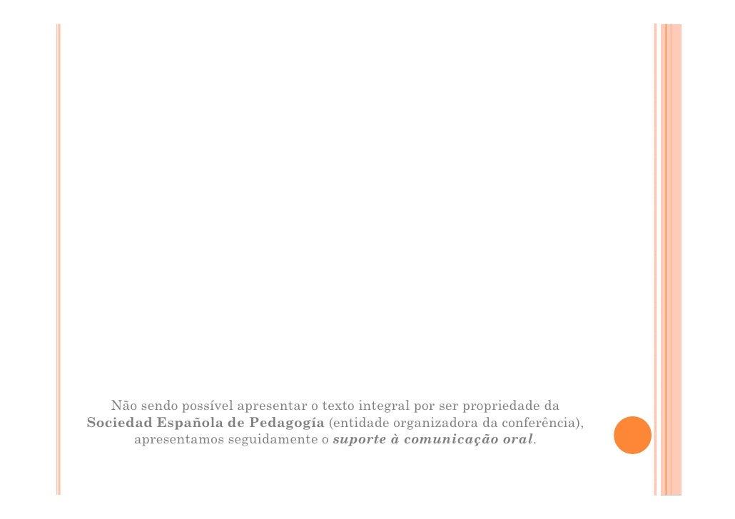 Não sendo possível apresentar o texto integral por ser propriedade da Sociedad Española de Pedagogía (entidade organizador...