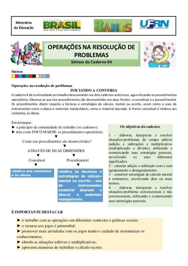 Síntese Operações na resolução de problemas INICIANDO A CONVERSA O caderno 4 dá continuidade ao trabalho desenvolvido nos ...
