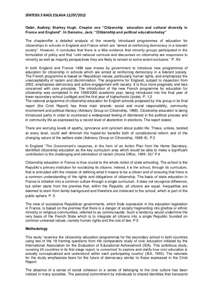 "SÍNTESIS 3 RAÚL ESLAVA 12/07/2012Osler, Audrey; Starkey Hugh. Chapter one ""Citizenship education and cultural diversity in..."