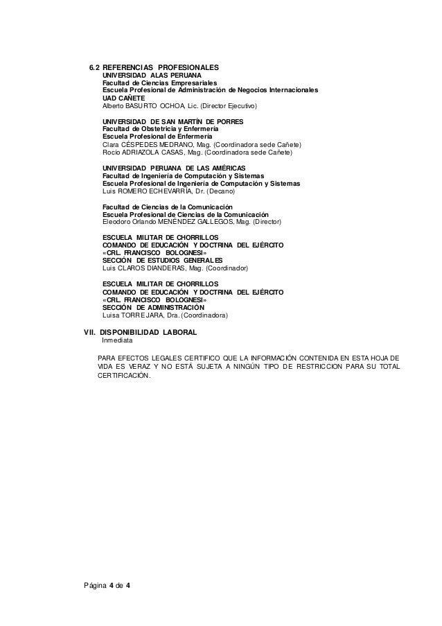 Página 4 de 4 6.2 REFERENCIAS PROFESIONALES UNIVERSIDAD ALAS PERUANA Facultad de Ciencias Empresariales Escuela Profesiona...