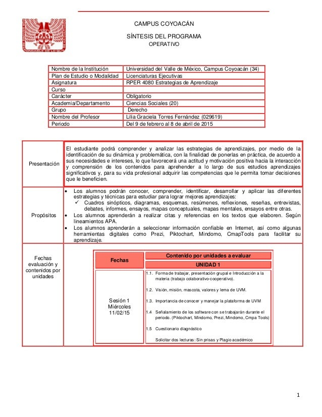 1 CAMPUS COYOACÁN SÍNTESIS DEL PROGRAMA OPERATIVO Presentación El estudiante podrá comprender y analizar las estrategias d...