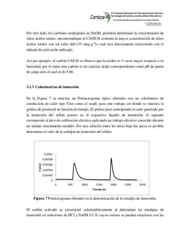 Por otro lado, los carbones sumergidos en NaOH, permiten determinar la concentración de sitios ácidos totales, encontr...