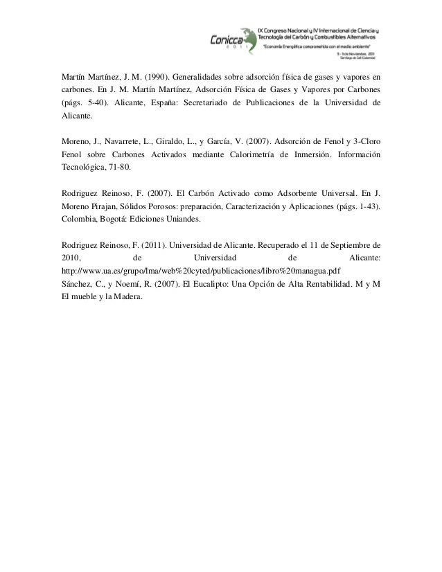 Martín Martínez, J. M. (1990). Generalidades sobre adsorción física de gases y vapores en carbones. En J. M. Martín Ma...