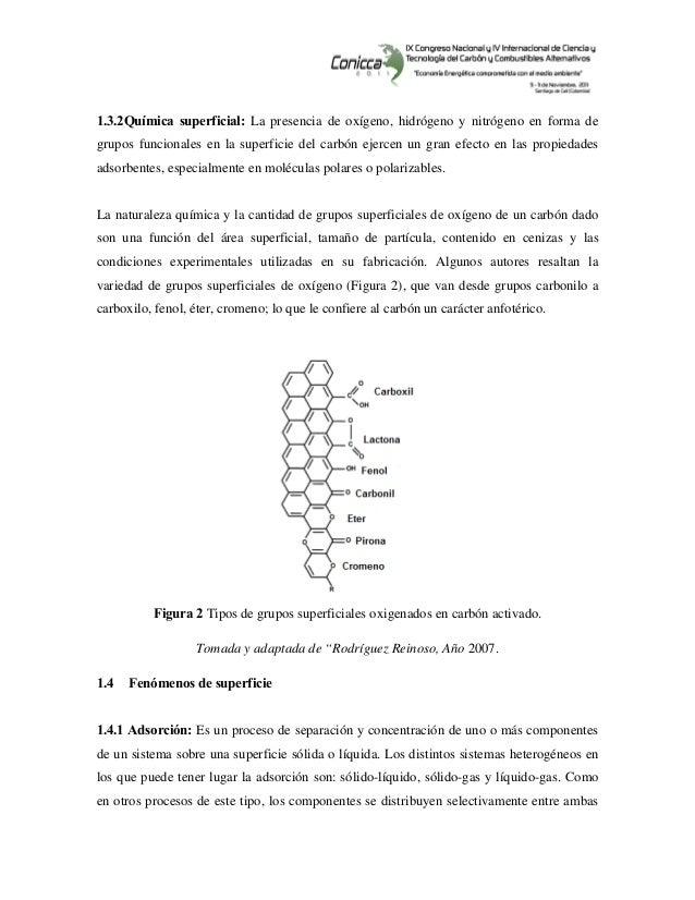 1.3.2Química superficial: La presencia de oxígeno, hidrógeno y nitrógeno en forma de grupos funcionales en la superfic...